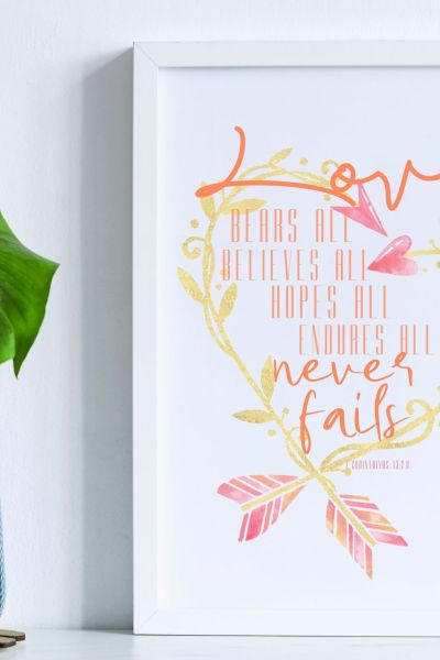 Printable digital download Love never fails