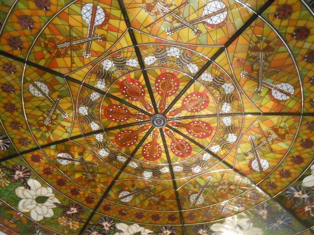 Closeup of the stained glass dome, Cascades lobby.