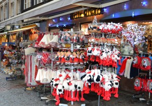 Racks of toys and souvenirs with stork motifs for sale