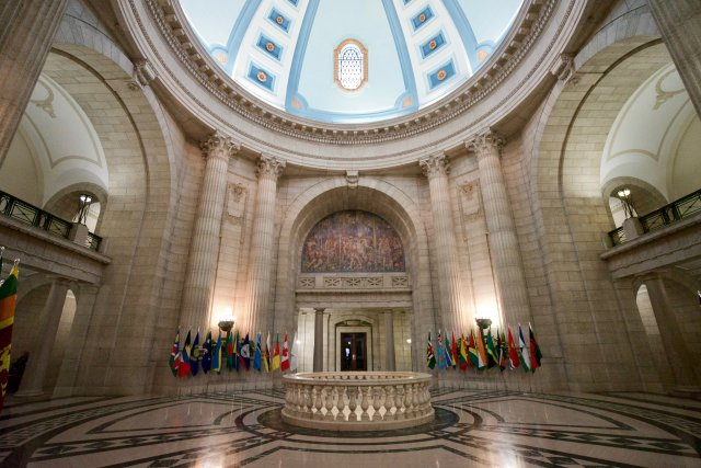 The majestic domed lobby of the Manitoba Legislative Building in Winnipeg.