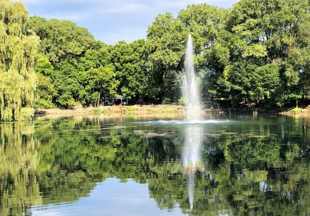 A clear pond reflects the backdrop of trees; a water feature in the pond shoots a spray of water straight into the air.