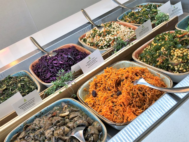 Closeup view of a buffet table laden with an assortment of mostly vegetarian foods.