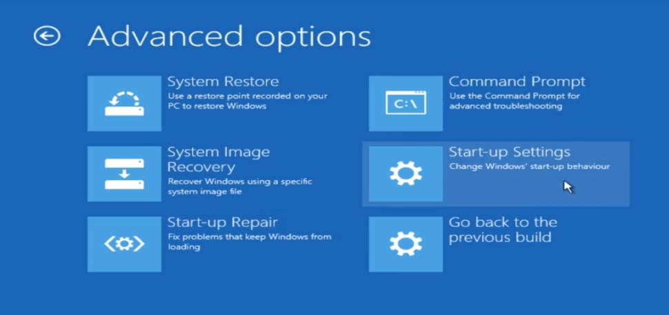 Windows 10 Advanced Options Startup Settings