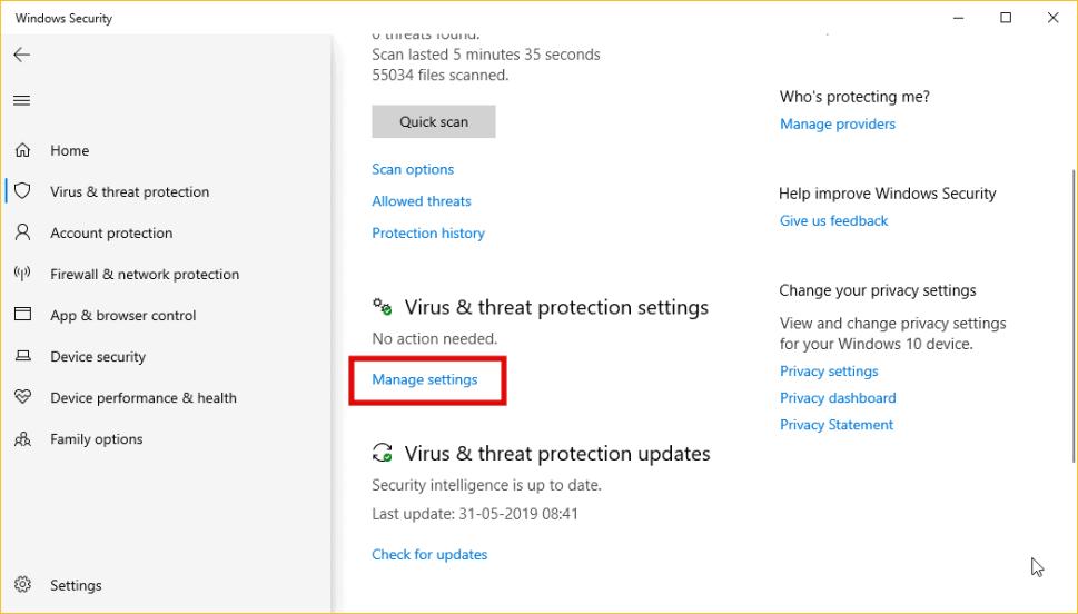 Windows Defender Virus & threat protection settings