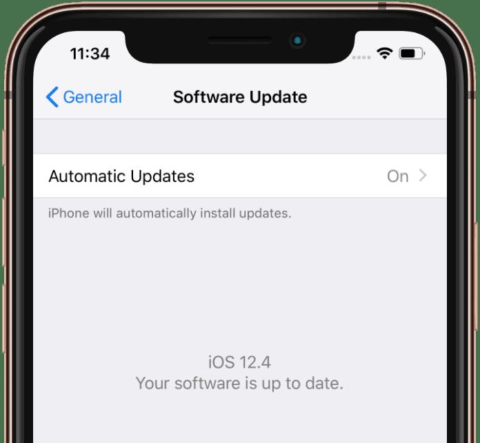iPhone iOS 12.4 update installed