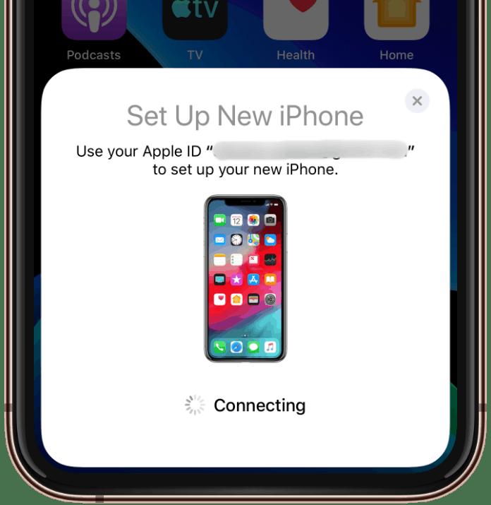Setup new iPhone quick start iOS 12.4