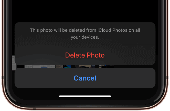 Delete Photo iPhone Confirm Pop Up Dialogue