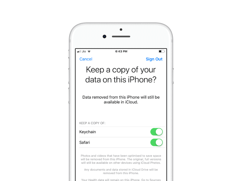 Keep Copy of your Data iCloud iPhone Sign Out Apple ID