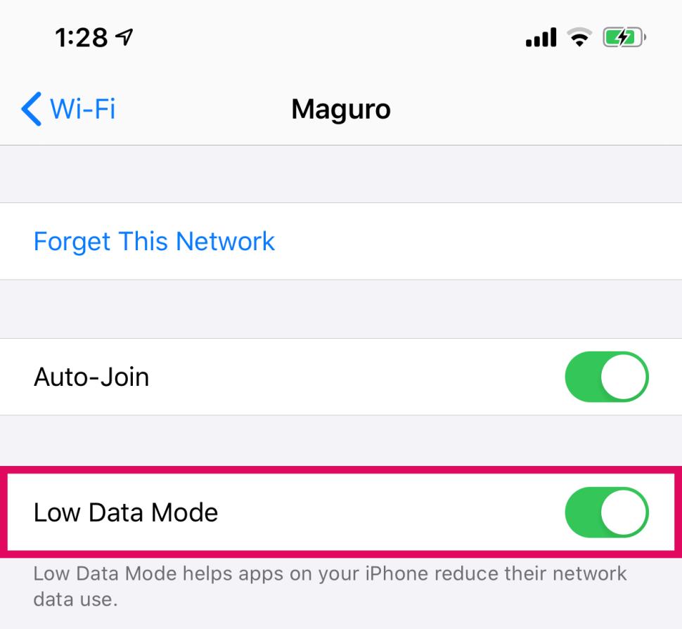 Turn On Low Data Mode WiFi iPhone Toggle Switch