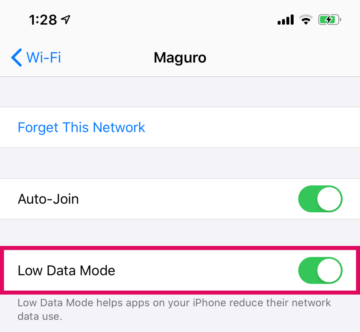 Turn On Low Data Mode WiFi iPhone Toggle Switch