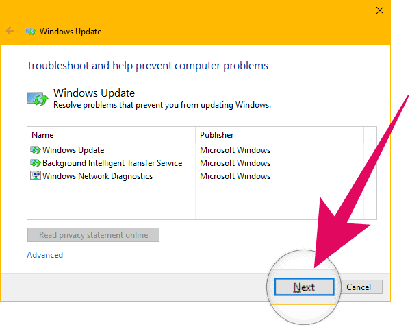 Click Next on Windows Update Troubleshooter