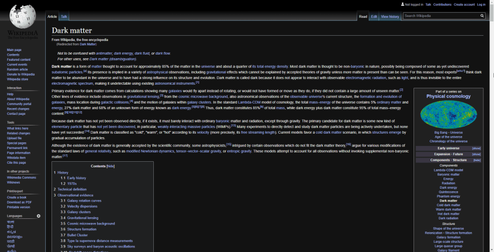 Wikipedia in Dark Mode on Chrome