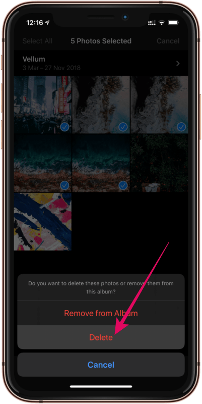 Confirm Delete Selected Photos iPhone