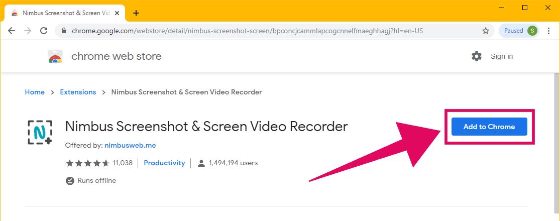 Install Nimbus Screenshot extension in Chrome