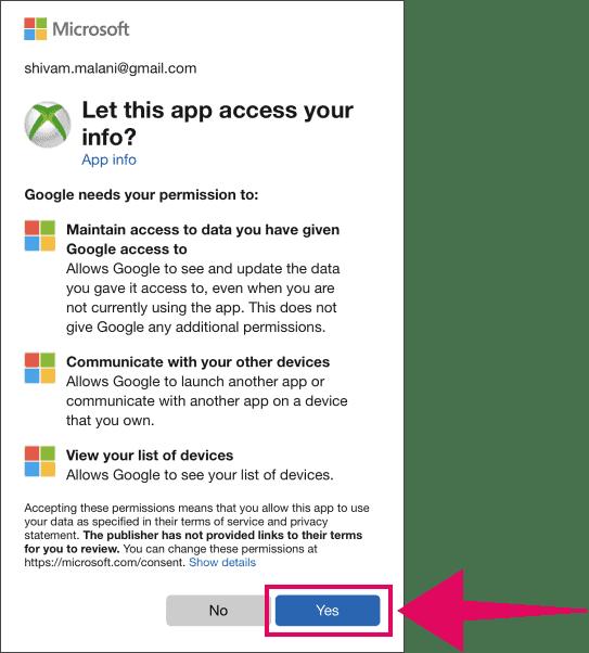 Allow Google access to Xbox