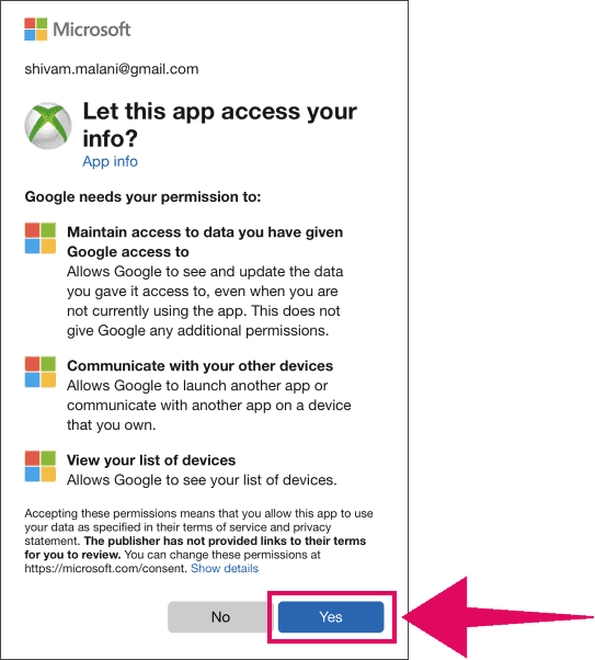 Allow Google access to Xbox