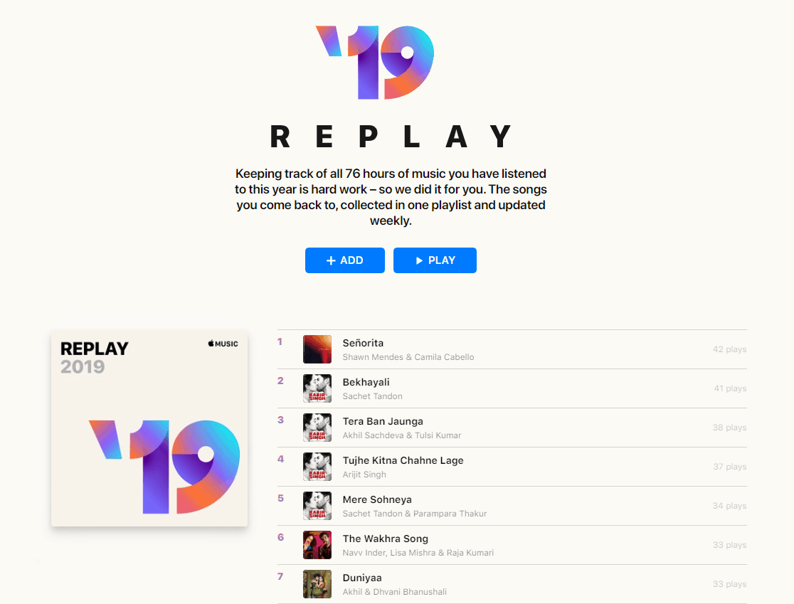 Apple Music Replay Top Played Songs