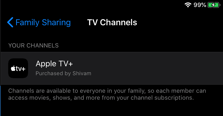 Apple TV+ comes with Family Sharing pre-activated