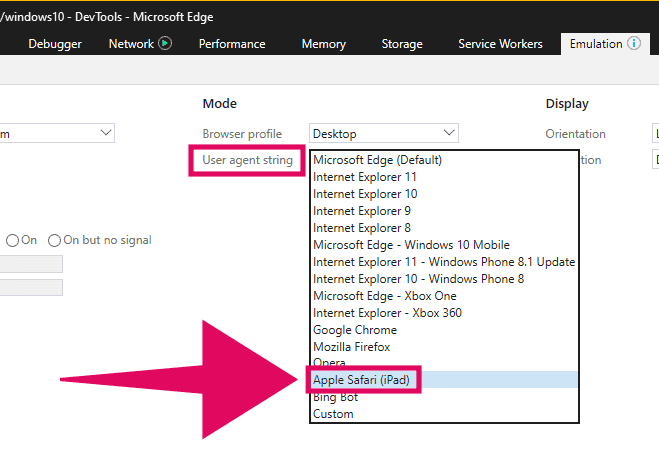 Change User Agent String in Microsoft Edge
