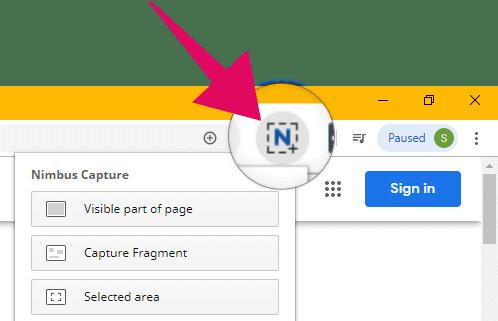 Access Nimbus screenshot options