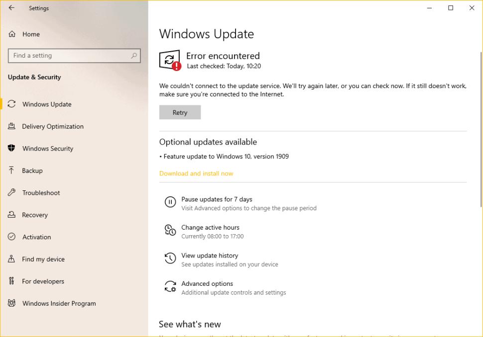 Windows 10 version 1909 Error