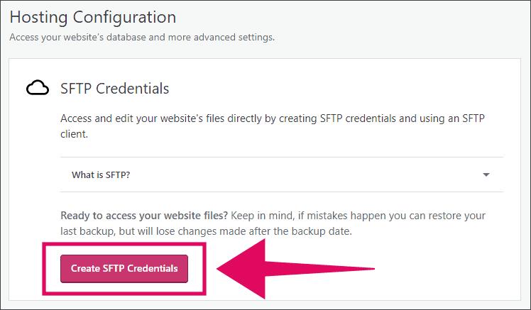 Create SFTP Credential WordPress.com Business Plan