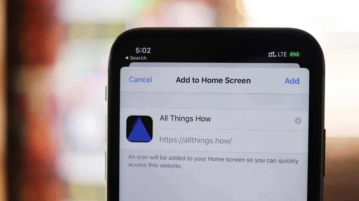 iPhone install website as app