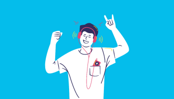 Man Partying and Listening Music with Headphones