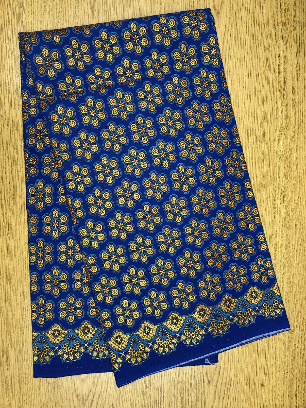 Per Yard Blue Gold Black Sun Flower Ankara African Print Fabric 1