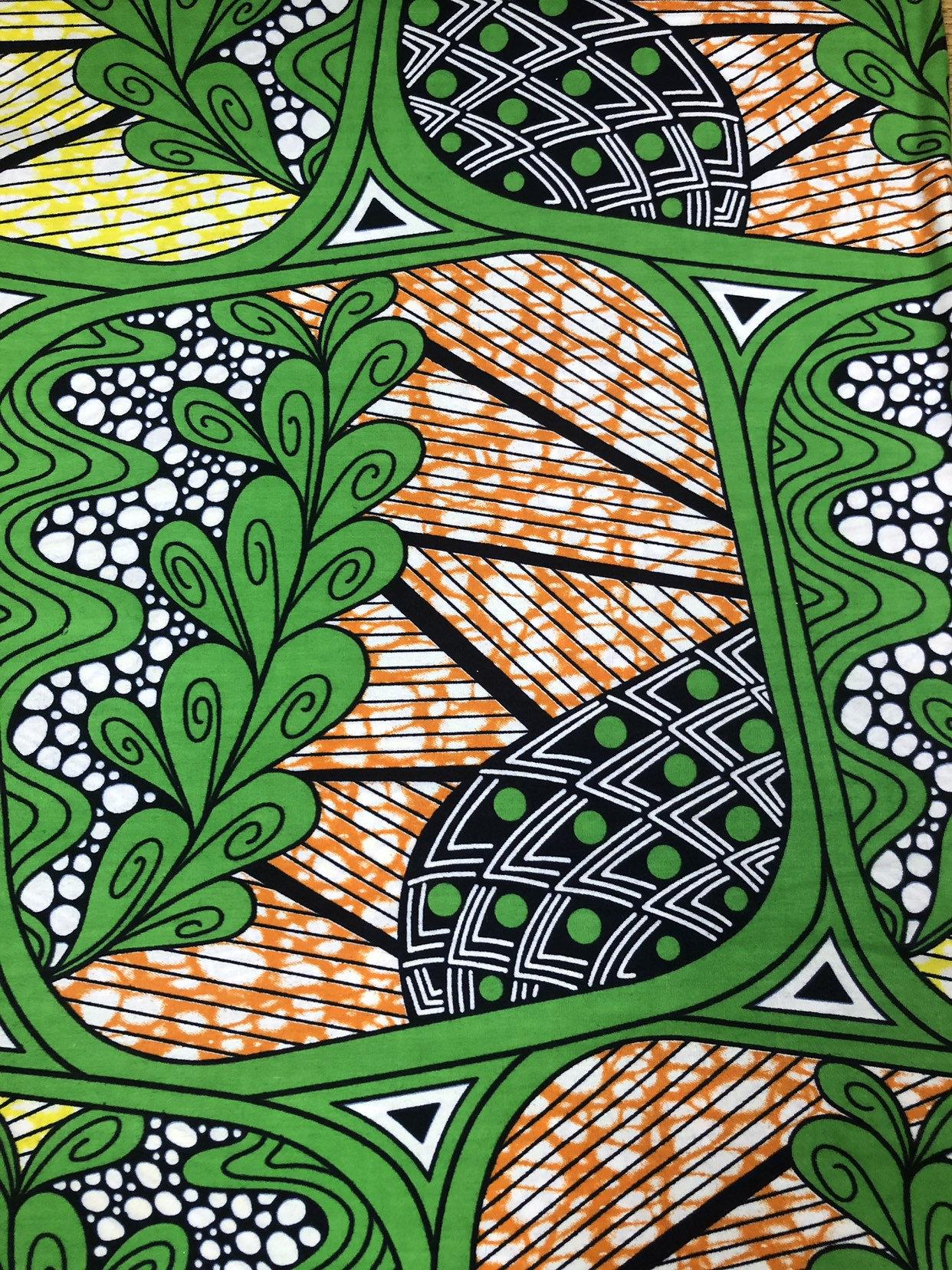 Wholesale Green Orange Brown Black White Leaves Ankara African Print Fabric 6 Yards