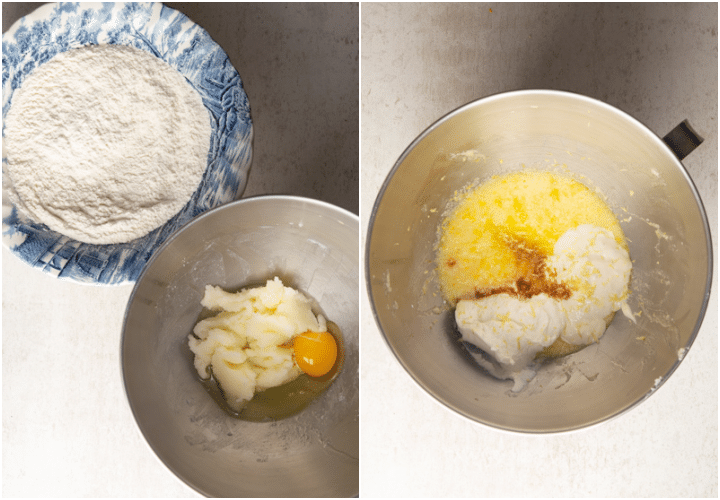 dry ingredients whisked in a bowl and ingredients in the mixing bowl