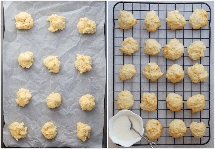 cookies before and after baked
