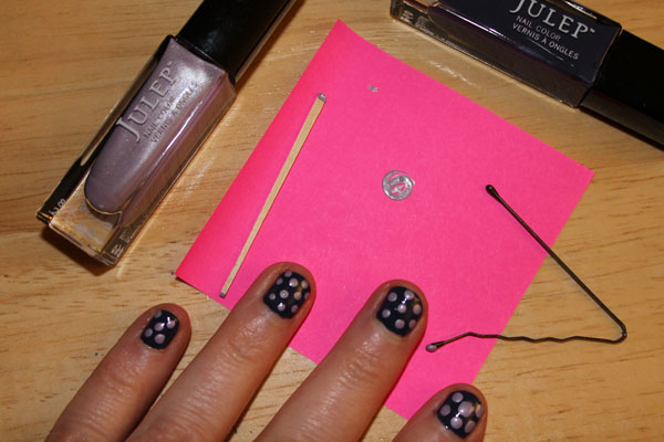 Creating Nail Art Dots With A Tooth Pick And Bobby Pin