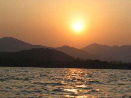 china sunset mountains