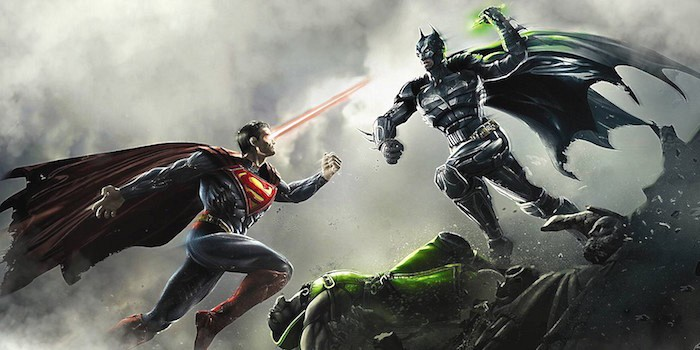 Batman v Superman fighting