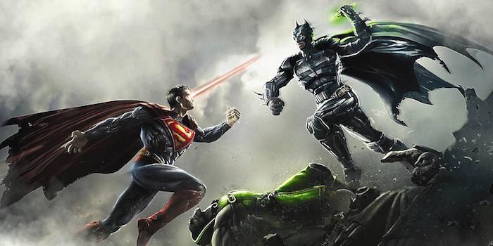 Batman v Superman fighting