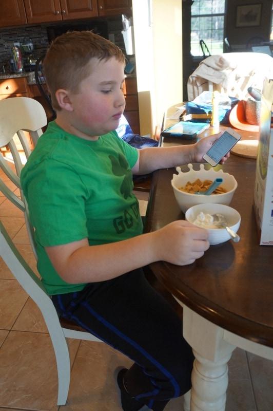 Evan eating breakfast
