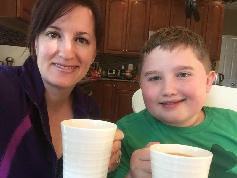 Fadra and Evan drink tea