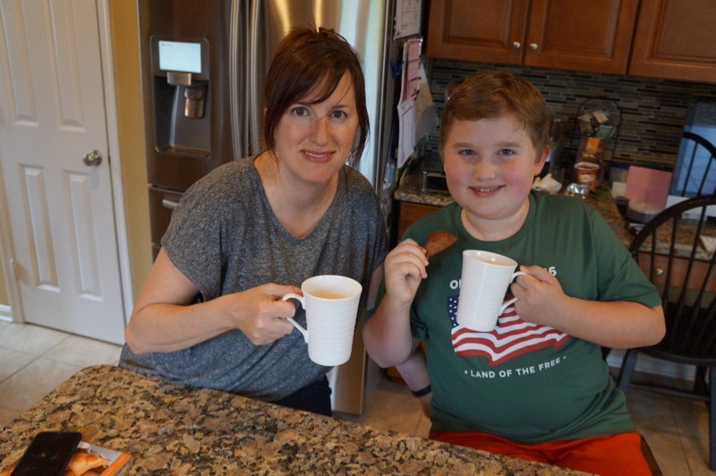 Mother and son tea time