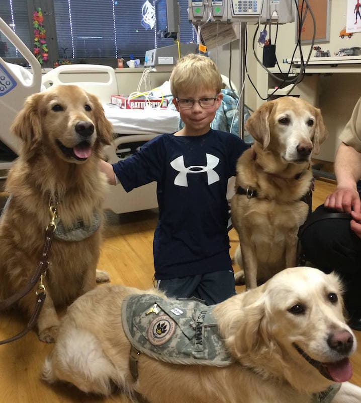 Zack and dogs at Walter Reed