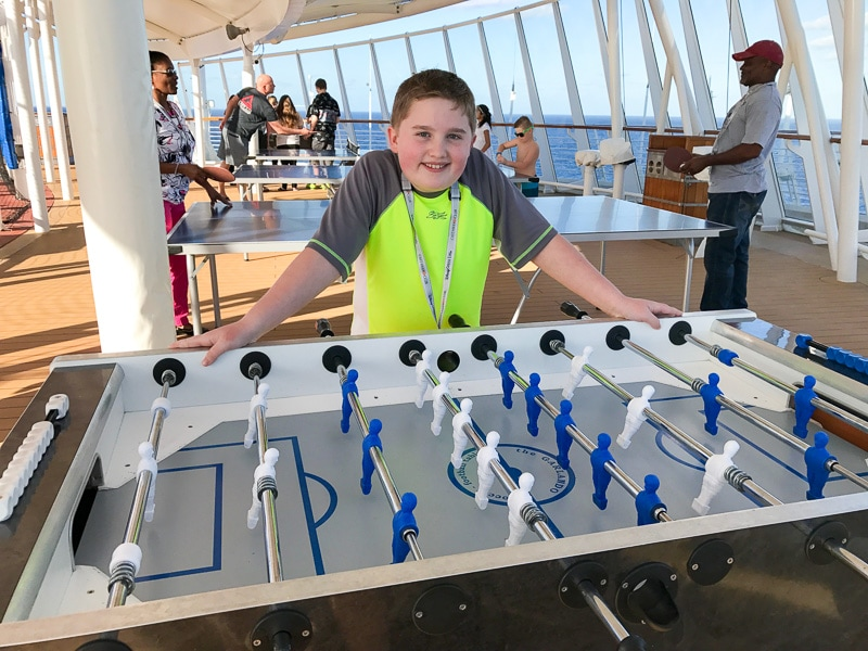 Foosball table on the Disney Wonder