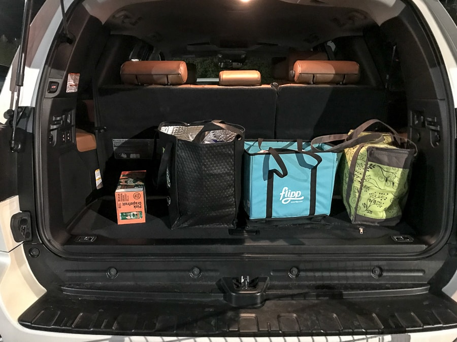 Groceries in the back of a Toyota Sequoia