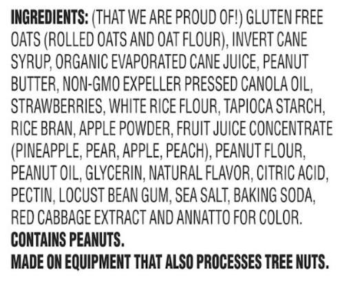 Van's PB&J ingredient list