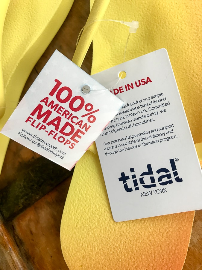 Tidal Flip Flops American Made tags