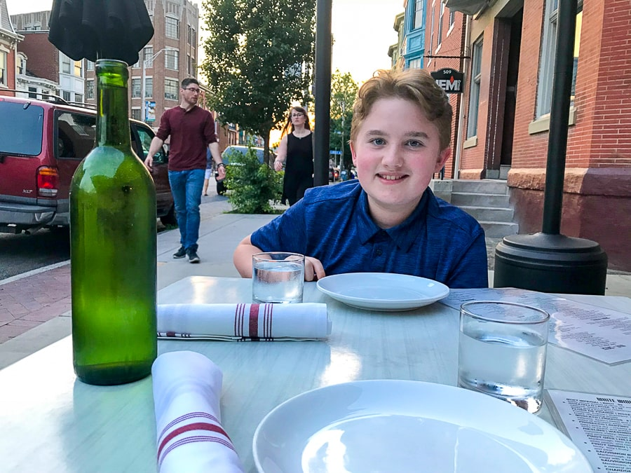 Evan at dinner with mom