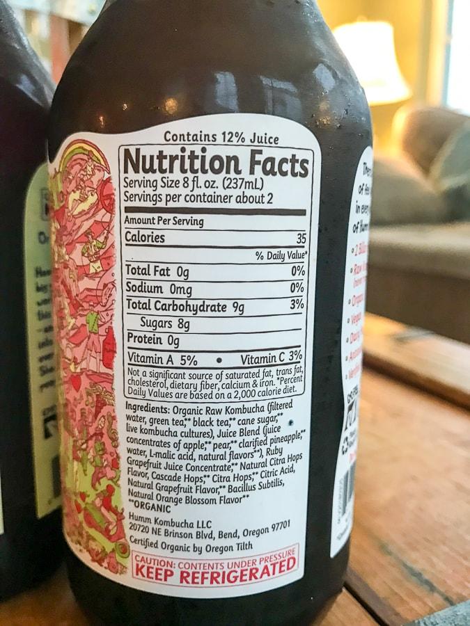 humm kombucha ingredient list