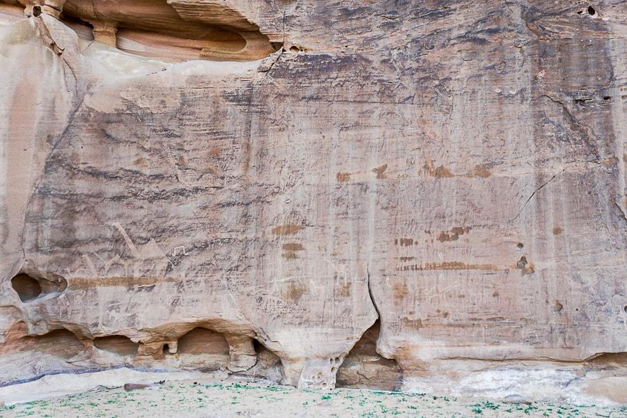 """Graffiti"" on the rocks near the sand dunes"