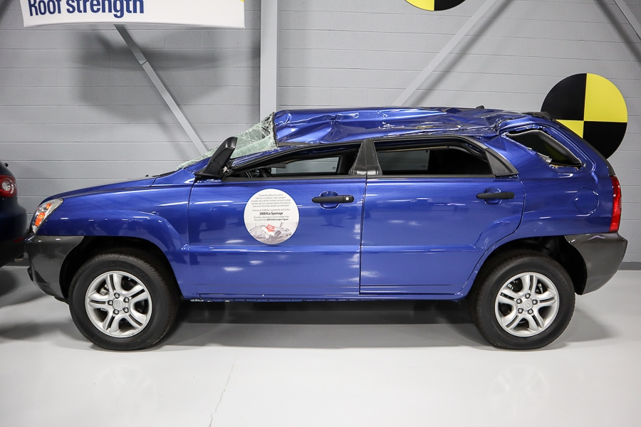 Roof strength test on an older Kia Sportage