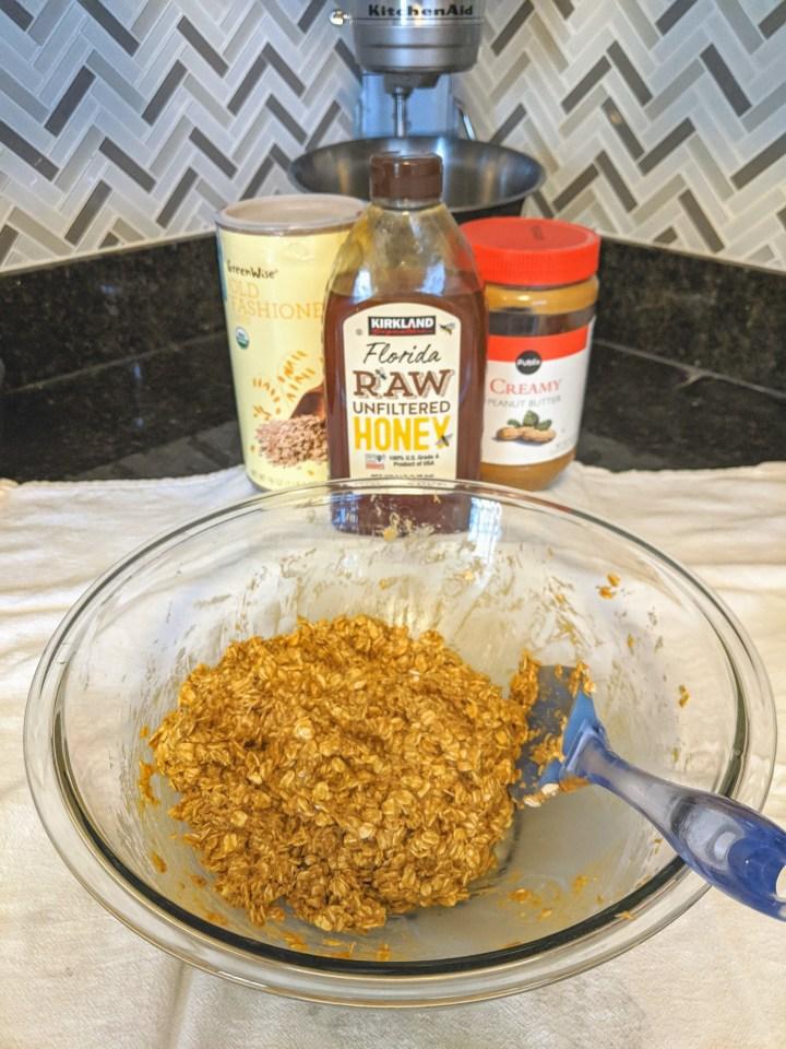 3 Ingredient Peanut Butter, Honey, & Oat Bars