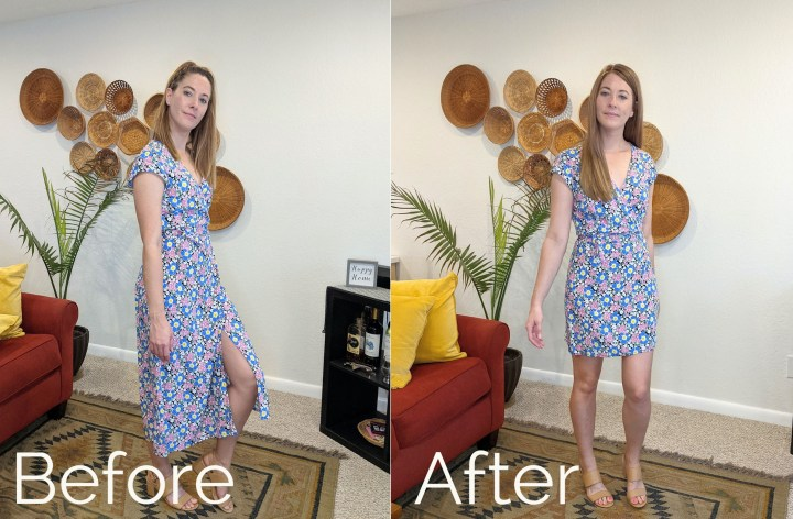 Before and after of altered dress